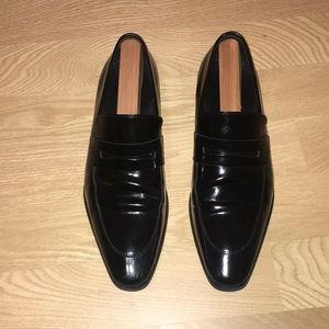 Versace Collection Black Leather Loafers Size 10